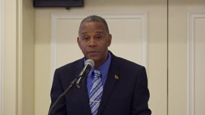 Hon. Eric Evelyn, Minister of Social Development in the Nevis Island Administration on Day 2 of the 2nd Biannual Regional Forum on the Sustainable Development Goals on March 28, 2019 at the Four Seasons Resort, Nevis
