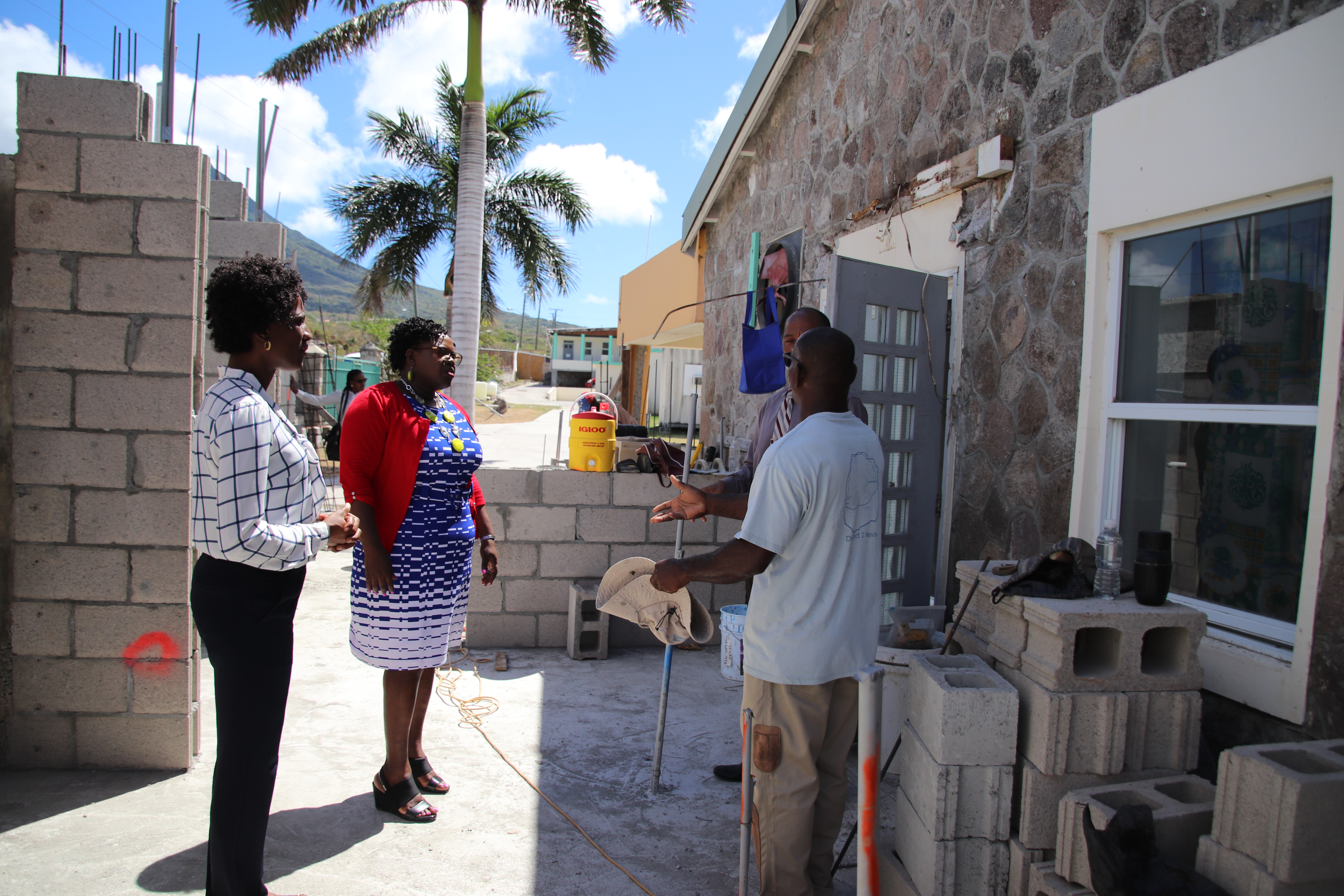 : Junior Minister of Health Hon. Hazel Brandy-Williams with contractor Mr. Egbert Clarke, Hospital Administrator Mr. Gary Pemberton and Acting Permanent Secretary in the Ministry of Health Ms. Shelisa Martin-Clarke at the Flamboyant Nursing Home kitchen expansion site at the Alexandra Hospital on March 14, 2019