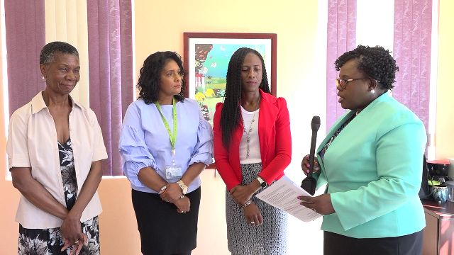 (l-r) Ms. Jeanette Maynard of the St. Kitts and Nevis Circle of Care; Ms. Shelagh James, Communications Specialist in the Ministry of Health; Mrs. Shelisa Martin-Clarke, Acting Permanent Secretary in the Ministry of Health and Hon. Hazel Brandy Williams, Junior Minister of Health in the Nevis Island Administration
