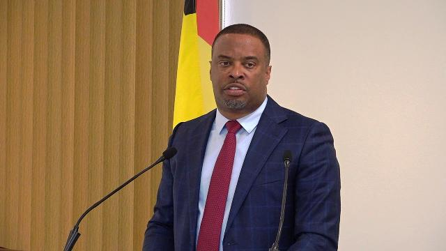 Hon. Mark Brantley, Premier of Nevis, at his monthly press conference at Cabinet Room at Pinney's Estate on March 01, 2019