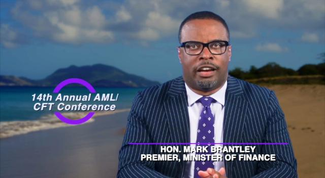 Hon. Mark Brantley, Premier of Nevis and Minister of Finance delivering an address in a video presentation at the 14th annual AML/CFT Conference hosted by the Financial Services Regulatory Commission – Nevis Branch on March 11, 2019 at the Four Seasons Resort, Nevis