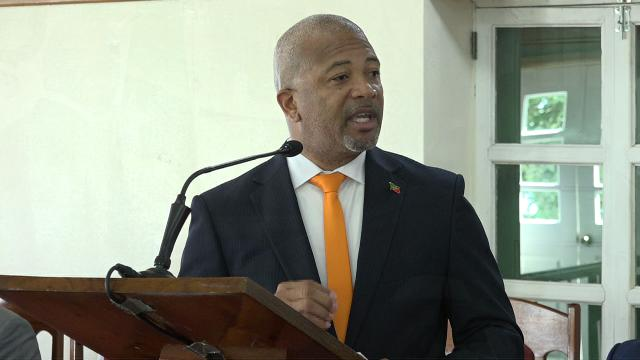 Hon. Spencer Brand, Minister responsible for Water on Nevis making his presentation at the Nevis Island Assembly on February 28, 2019