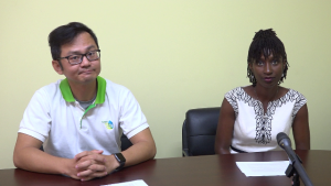 FengTa Tsai, of the Taiwan ICDF, project manager of the Chronic Kidney Disease Prevention and Control Project in St. Kitts and Nevis (left) and, Renell Daniel, Senior Health Educator in the Health Promotion Unit (right).