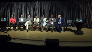 Members of the Diplomatic Corps at the Nevis Performing Arts Centre addressing students during Diplomatic Week 2019