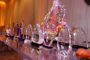 Trophies for distribution at the Ministry of Tourism Awards Gala in May 2017 at the Four Seasons Resort, Nevis in 2019