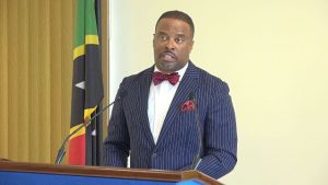 Hon. Mark Brantley, Premier of Nevis at his recent press conference at Cabinet Room at Pinney's Estate