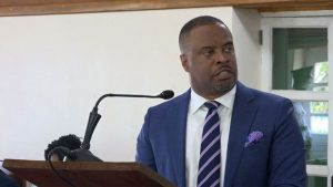 Hon. Mark Brantley, Premier of Nevis, delivering a statement on the temporary closure at the Four Seasons Resort, Nevis during a sitting of the Nevis Island Assembly on May 21, 2019