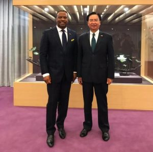 (L-r) Hon. Mark Brantley Minister of Foreign Affairs and Aviation, and Premier of Nevis with his Taiwanese counterpart, His Excellency Dr. Jaushieh Joseph Wu at the Ministry of Foreign Affairs in the Republic of China (Taiwan) on March 09, 2019