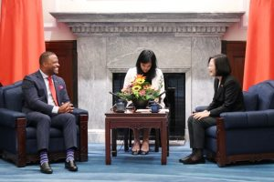 Hon. Mark Brantley, Minister of Foreign Affairs and Aviation in St. Kitts and Nevis and Premier of Nevis being at a meeting with Her Excellency Dr Tsai Ing-wen, President of the Republic of China (Taiwan)