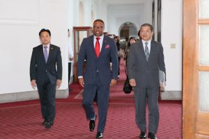 Hon. Mark Brantley, Minister of Foreign Affairs and Aviation in St. Kitts and Nevis and Premier of Nevis (middle) with government officials in the Republic of China (Taiwan)
