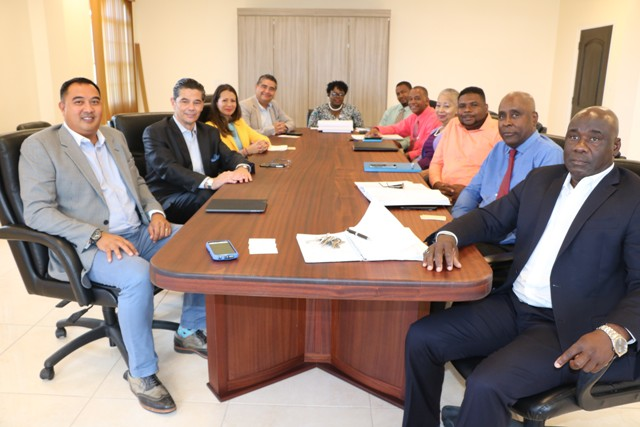 Executives from the Four Seasons Resort, Nevis meeting with the Nevis Island Administration Cabinet at Cabinet Room, Pinney's Estate on May 08, 2019 (l-r) Mr. Philip Salud, Resort Manager; Mr. Gonzalo Güelman Ros, General Manager; Ms. Ivet Beltran, Director of People and Culture; Mr. Henry Ortega Torres, Director of Finance; Hon. Hazel Brandy-Williams; Mr. Gary Liburd, Chief Labour Officer; Hon. Eric Evelyn; Mrs. Hélène Ann Lewis, Legal Advisor; Hon. Troy Liburd; Mr. Stedmond Tross, Cabinet Secretary; and Hon. Alexis Jeffers, Deputy Premier of Nevis, at a Nevis Island Administration Cabinet meeting on May 08, 2019 at Pinney's Estate