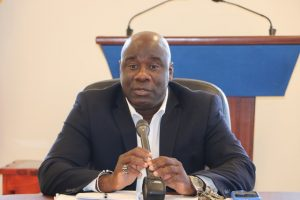 Hon. Alexis Jeffers, Deputy Premier of Nevis at Cabinet a meeting on May 08, 2019, at Pinney's Estate