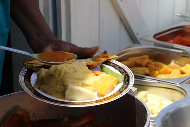A typical Nevisian meal of cornmeal and fish served at the Ministry of Tourism's Heritage Village Life, at the Nevisian Heritage Village on May 10, 2019, an event on its Exposition Nevis calendar of activities