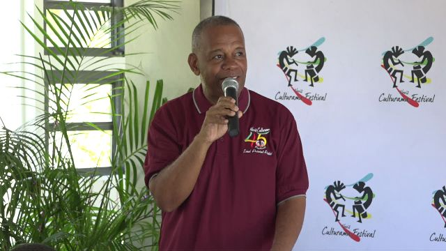 Hon. Eric Evelyn, Minister of Culture at the Culturama Secretariat's Media Launch for Culturama 45 at the Mount Nevis Hotel on May 03, 2019
