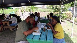 A section of patrons at the Jessups Seafood Fiesta 2019 at Jessups Village on May 06, 2019, an activity on the Ministry of Tourism's Exposition Nevis 2019 calendar