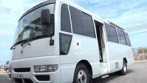 The medical mobile unit handed over to the Ministry of Health at the Nevis Disaster Management Department grounds on May 29, 2019, as a gift from the government and people of Japan