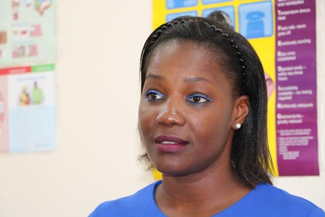Ms. Latoya Matthew-Duncan, Nutrition Surveillance Coordinator in the Health Promotion Unit in St. Kitts, at the Alexandra Hospital's Maternity Ward on May 23, 2019