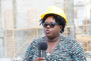 Hon. Hazel Brandy-Williams, Junior Minister of Health on Nevis at the construction site of the Alexandra Hospital Expansion Project on Thursday, May 23, 2019