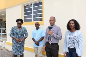 (L-r) Hon. Hazel Brandy-Williams, Junior Minister of Health on Nevis; Mr. Egbert Clarke, contractor; Mr. Gary Pemberton, Hospital Administrator; and Ms. Shelisa Martin-Clarke, Acting Permanent Secretary in the Ministry of Health; during a tour of the expansion of the kitchen facility at the Flamboyant Nursing Home on Thursday, May 23, 2019