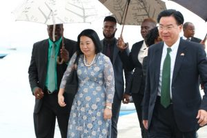 Dr. the Hon. Jaushieh Wu, Foreign Affairs Minister of the Republic of China (Taiwan) and his wife Mrs. Ru-Yuh Wu arriving at the Oualie Pier on Nevis on May 28, 2019