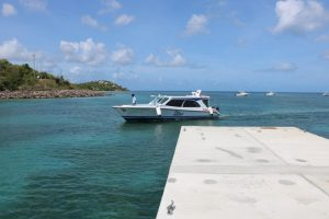 One of the vessels in the Islander Watersports fleet coming to dock at the new water taxi pier at Oualie Bay on May 20, 2019