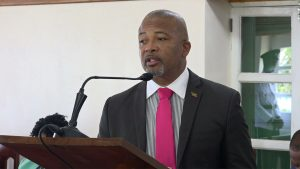 Hon. Spencer Brand, Minister of Communication and Works in the Nevis Island Administration, making his presentation at a sitting of the Nevis Island Assembly on May 21, 2019