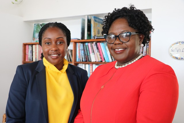 (L-r) Ms. Tres-Ann Kremer, Adviser for the Caribbean Region and the Commonwealth Secretariat and Hon. Hazel Brandy-Williams, Junior Minister of Gender Affairs in the Nevis Island Administration at Mount Nevis Hotel on June 24, 2019