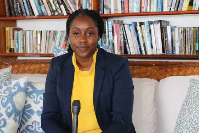 Dr. Tres-Ann Kremer, Adviser for the Caribbean Region and the Commonwealth Secretariat and Head of Good Offices for Peace, speaking to the Department of Information at the Mount Nevis Hotel on June 24, 2019