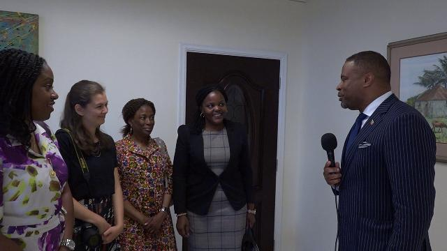 Hon. Mark Brantley, Premier of Nevis (extreme right) welcomes Commonwealth Secretariat team to Nevis at his office at Pinney's Estate on June 21, 2019, (l-r) Dr. Tres-Ann Kremer, Adviser Caribbean and Head of Good Offices for Peace; Ms. Sonali Campion, Programme Officer; Ms. Helene Massaka, Programme Assistant; and Ms. Elizabeth Bkibinga-Gaswaga, Legal Adviser