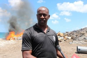 Inspector James Stephen, Head of the Nevis Task Force based at the Charlestown Police Station, speaking to the Department of Information during an exercise at the Nevis Solid Waste Management Authority landfill at Long Point on June 13, 2019