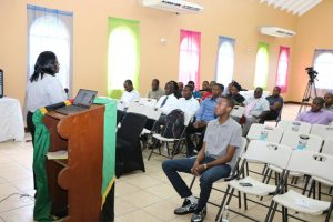 A section of Constables stationed at the Royal St. Christopher and Nevis Police Force, Nevis Division listen to facilitator Mrs. Tresia Daniel during a session on Customer Service at the Constables' Conference 2019 at the Jessups Community Centre on June 06, 2019