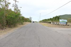 A section of Phase 1 of the Island Main Road Rehabilitation and Safety Improvement Project from Cotton Ground to Cliff Dwellers