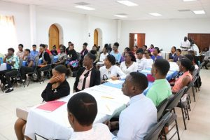 Participants at a session of the Department of Youth 5-week Summer Job Attachment Programme at the St. Paul's Anglican Church Hall in Charlestown