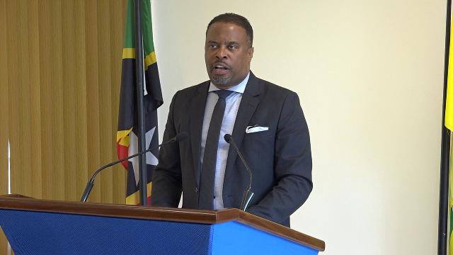 Hon. Mark Brantley, Premier of Nevis, at his monthly press conference at Cabinet Room at Pinney's Estate on July 25, 2019