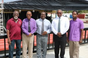 "(L-r) Mr. Antonio ""Abonaty"" Liburd, Executive Director of the Culturama Secretariat, and Central Committee Chairman for Culturama 45; Hon. Eric Evelyn, Minister of Culture on Nevis; Mr. Keith Glasgow, Permanent Secretary in the Ministry of Culture; Mr. Jerome Rawlins, Chief Executive Officer of the Nevis Cultural Development Foundation; and Mr. Andrew Warner, Chief Executive Officer of Visual FX and Lighting Systems standing in the Culturama Lounge at the Nevis Cultural Complex on July 23, 2019"
