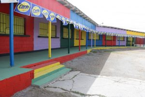 The freshly-painted vendors' booths at the Nevis Cultural Complex on July 23, 2019