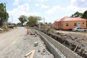 U-drains constructed by workers from the Public Works Department in the Nevis Island Administration on July 24, 2019