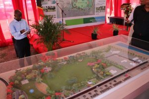 A model of the St. Kitts and Nevis Pinney's Beach Park on display at the ground-breaking ceremony on July 14, 2019, for the multi-million dollar St. Kitts and Nevis Pinney's Beach Park Project