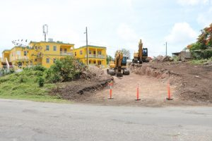 A new entrance to Cotton Ground village under construction Nevis Island Administration's EC$6.7million Island Main Road Rehabilitation and Safety Improvement Project