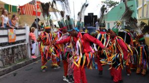 Cotton Ground Masquerade group performing in Culturama 45 Cultural Street Parade in Charlestown on August 06, 2019