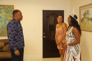 Hon. Mark Brantley, Premier of Nevis welcomes Ms. Shellisa Nanton of St. Vincent and the Grenadines, the reigning Flow Miss Caribbean Culture Queen and Ms. Renee Wilkerson, Co-Chairperson of the Flow Miss Caribbean Culture Queen Pageant to his Pinney's office on August 02, 2019