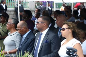 (L-r) Her Honour Hyleeta Liburd, Deputy Governor General and her husband Mr. Elmo Liburd; Premier of Nevis Hon. Mark Brantley and Mrs. Sharon Brantley at the MV Christena Disaster Memorial on Hunkins Drive on August 01, 2019
