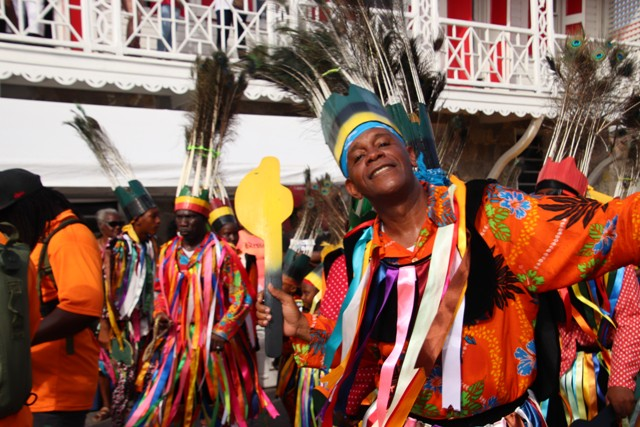 Hon. Eric Evelyn, Minister of Culture on Nevis, masquerading and taking part in the Culturama 45 Cultural Street Parade in Charlestown on August 06, 2019