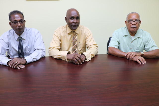 (Left to Right): Mr. Gilroy Pultie, General Manager of NEVLEC; Mr. Stedmond Tross, Chairman of NEVLEC Board of Directors and Mr. Elford Felix, NEVLEC Generation Consultant