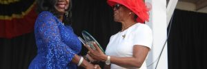 Deputy Governor General of Nevis Her Honour Hyleeta Liburd presents an award to Ms. Ermine Jeffers, one of 10 awardees honoured by the Nevis Island Administration for their sterling contribution to the development of Nevis on the occasion of the 36th Anniversary of Independence of St. Kitts and Nevis at the Independence Day Ceremonial Parade and Awards Ceremony at the Elquemedo. T. Willett Park on September 19, 2019