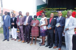 Nine of the 10 awardees honoured by the Nevis Island Administration for their sterling contribution to the development of Nevis on the occasion of the 36th Anniversary of Independence of St. Kitts and Nevis at the Independence Day Ceremonial Parade and Awards Ceremony at the Elquemedo. T. Willett Park on September 19, 2019. (L-r) Mr. Elvis Maynard, Mr. Brian Powell, Mr. Bernette Thompson, Mr. Laurie Lawrence, Mrs. Gwenneth Maynard Mrs. Josette Myers, Mr. Franklyn Daniel, Mr. Collin Tyrell and Mr. Carl Claxton