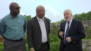 (L-r) Dr. Ernie Stapleton, Permanent Secretary in the Ministry of Environment; Hon. Spencer Brand, Minister of Environment in the Nevis Island Administration; and Mr. Magdy Martinez Soliman, Resident Representative of the UNDP in Barbados and the Organisation of Eastern Caribbean States, during a recent visit to Fort Charles in Bath Village
