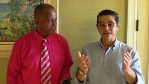(l-r) Hon. Eric Evelyn, Minister of Community Development, on Nevis with Mr. Gonzalo Gëlman Ros, General Manager of the Four Seasons Resort, Nevis at the resort on September 09, 2019