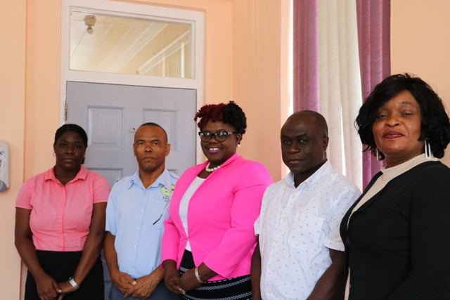 (L-r) Environmental Health Officers in the Environmental Health Unit Ms. Risa Paul and Mr. Patrick Newton; Hon. Hazel Brandy-Williams, Junior Minister of Health on Nevis; and from the Nevis Solid Waste Management Authority, Mr. Andrew Hendrickson, General Manager; and Ms. Latoya Kelly, Administrative Assistant; at Minister Brandy-Williams' office in Charlestown on September 09, 2019