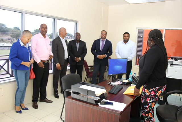 Some members of the Nevis Island Administration Cabinet (l-r) Mrs. Hélène Anne Lewis, Legal Advisor to the Nevis Island Administration; Mr. Stedmond Tross, Cabinet Secretary; Hon. Spencer Brand; Hon. Alexis Jeffers, Deputy Premier; Hon. Mark Brantley, Premier of Nevis; and Hon. Troy Liburd, moments after filing their declarations of assets at the Integrity Commission's office in Charlestown on September 20, 2019, with Ms. Ercia Blake the commission's Secretary